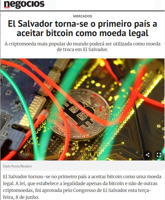 bitcoin torna-se moeda legal em el salvador