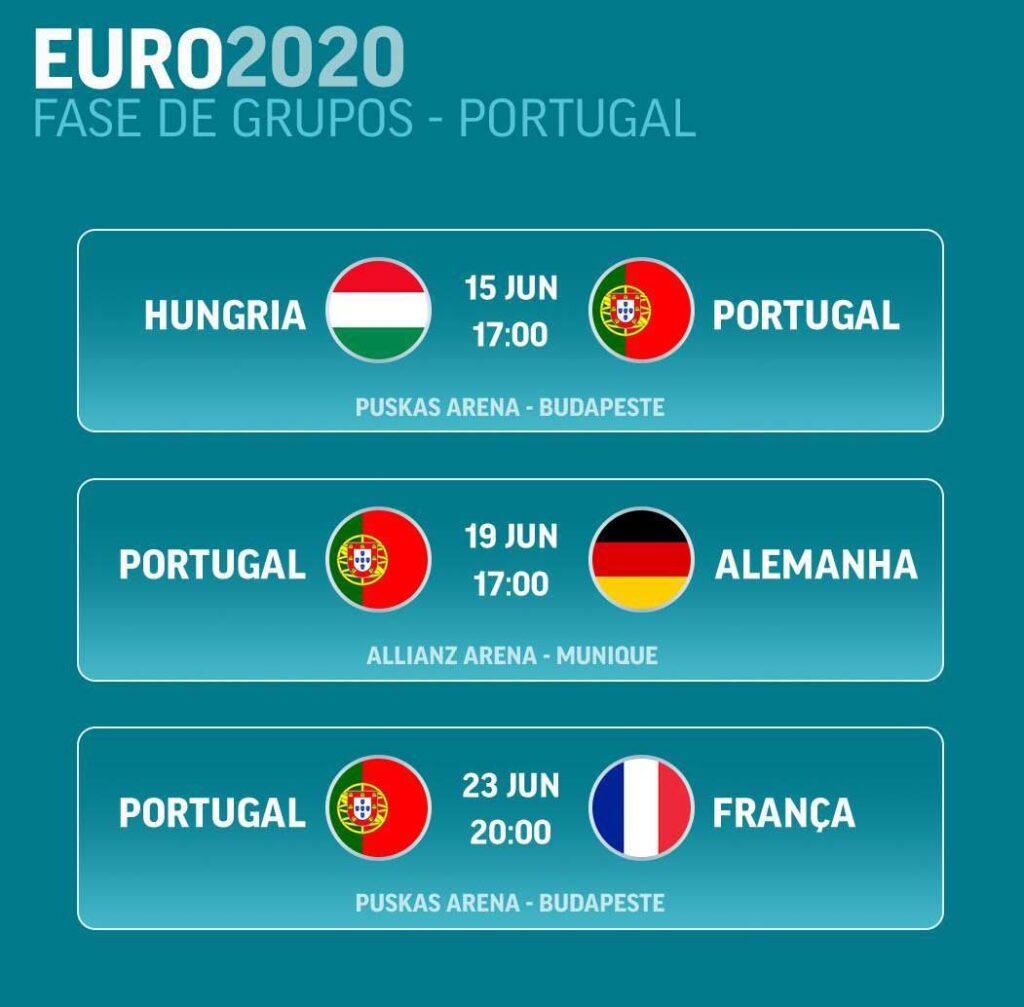 Calendário Euro2020 Portugal